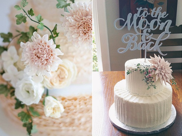 dahlia wedding cakes Maggie Austin left, Better OffWed via Etsy right