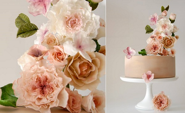 elevated sugar flowers cake by The Artful Caker, Sydney