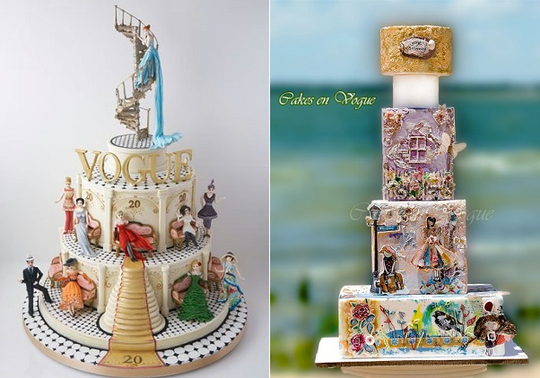 fashion cakes by Rachel Mount left, Cakes En Vogue right