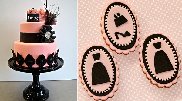 fashion cakes by The Butter End Cakery left, Pasteles Alma, right