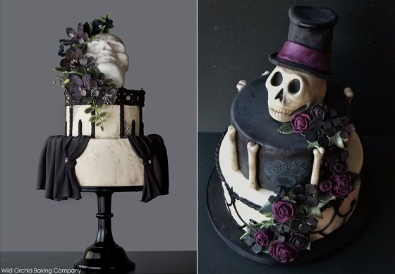 gothic halloween cakes skull cakes by Wild Orchid via The Cake Blog left and by Sabores da Alma Portugal right