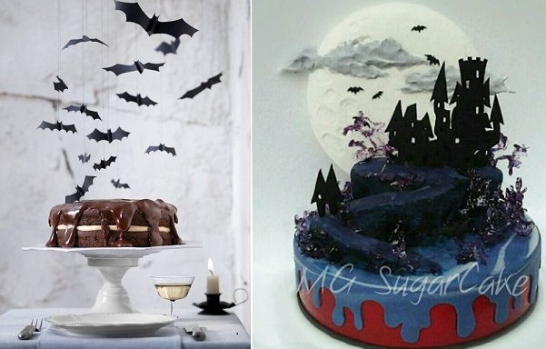 halloween bat cake from Martha Stewart, halloween castle cake by MG Sugar Cake