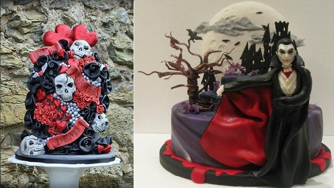 halloween wedding cake by Claire's Cakes, Aberdeen left, Dracula cake via Tumblr