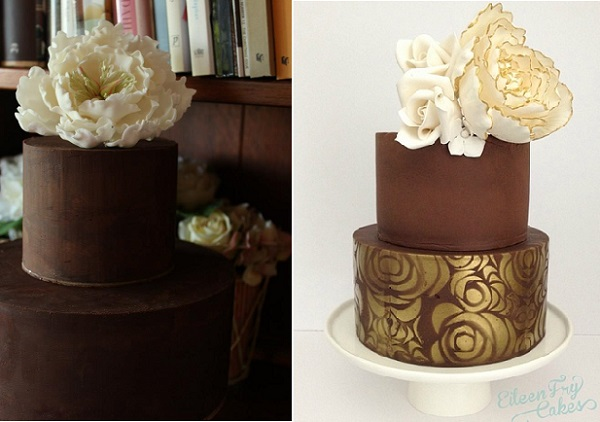 milk chocolate wedding cake and dark chocolate wedding cakes, Chloe Kerr left, Eileen Fry right