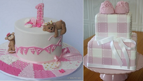 patchwork baby cake by Jo Takes The Cake left and via Pinterest right