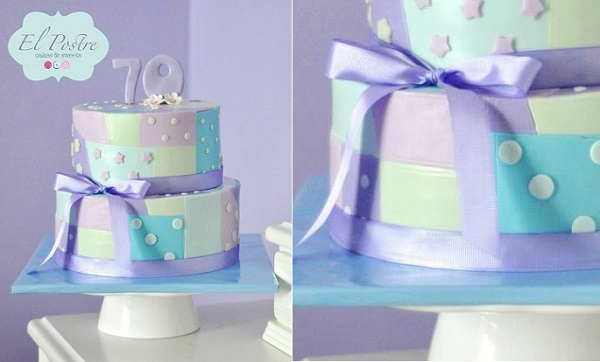 patchwork cake in pastels by El Postre Cakes & Sweets