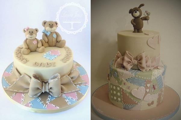 patchwork cakes by Laura Jane Cake Design left and Shereen's Cakes & Bakes right