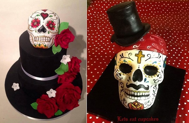 skull cakes by Edible Essence Cake Art, Plymouth left, Let's Eat Cupcakes right