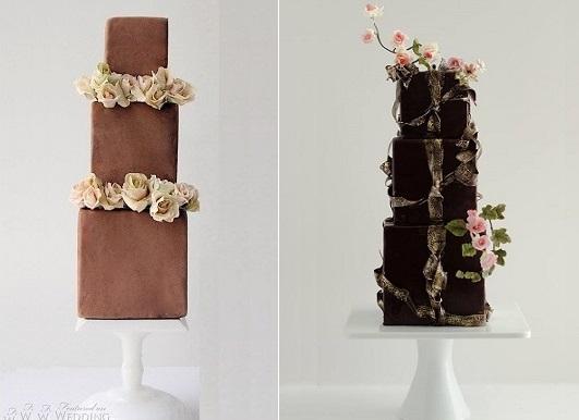 square milk chocolate wedding cake by Maggie Austin Cake