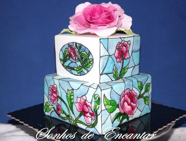 stained glass cake buttercream art by Sonhos de Encantar