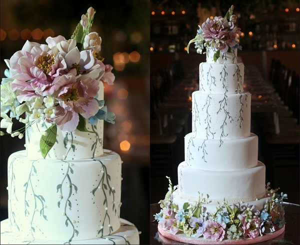 sugar foliage and flowers wedding cake by The Caketress