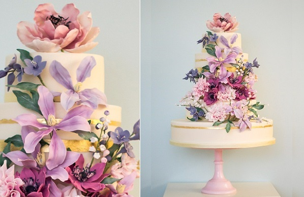 sugar foliage and sugar flowers wedding cake by Rosalind Miller