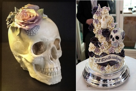 white chocolate skull cake by Eat Me Cupcakes UK left and skull wedding cake right by Choccywoccydoodah