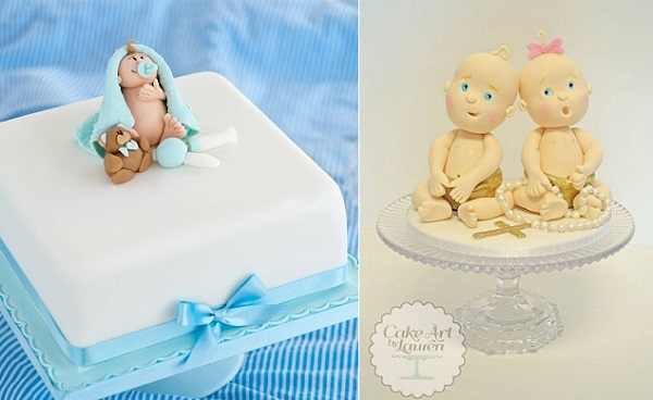 baby models baby cake toppers by A Touch of Magic Cork left, Cake Art by Lauren right