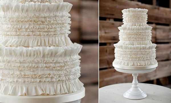 banded frills cake fabric effects by Zoe Clark Cakes