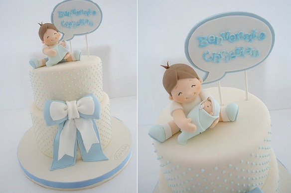 brother and baby christening cake by Diletta Contaldo