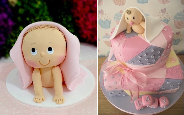 crawling baby cake toppers by Fat Cakes Design UK right, via Pinterest left
