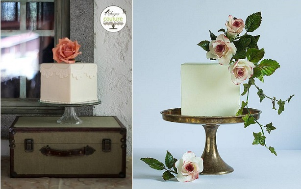 cube cakes by Sugar Couture Cupcakes & Cakes left, Lina Veber Cake right