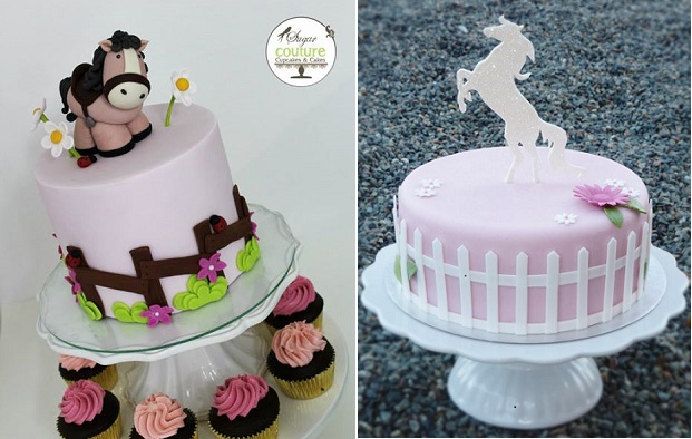 horse and pony cakes by Sugar Couture Cupcakes & Cakes left, Mina Magiska Bakverk right