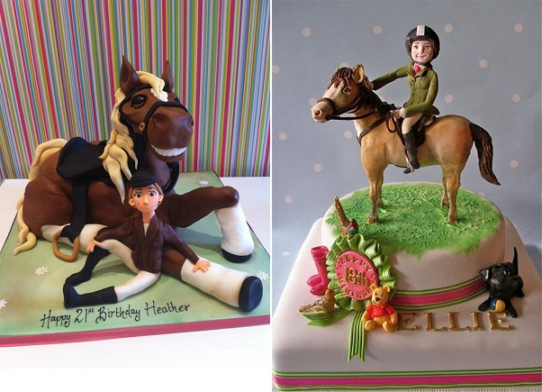horse and rider cakes by Richard's Cakes left, Nice Icing right