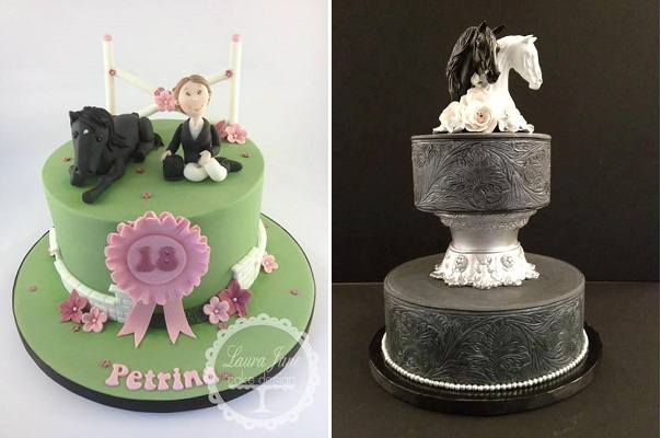 horse cake by Laura Jane Cake Design left and equestrian wedding cake via Pinterest right