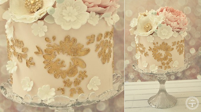 1 gold lace embroidery cake by Cotton & Crumbs