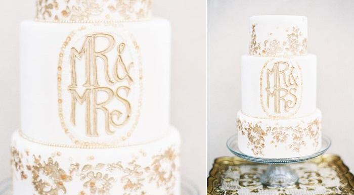 8 gold flaked wedding cake via Elizabeth Anne Designs