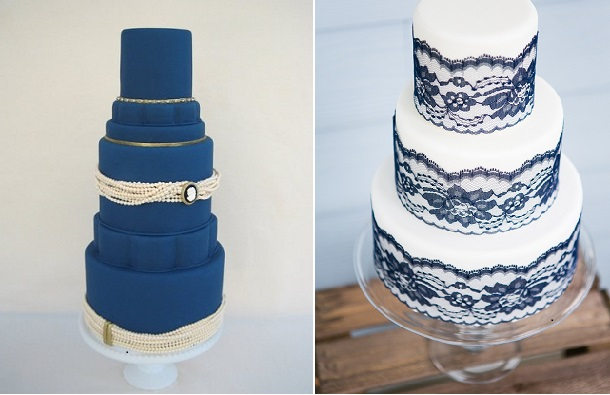 Navy wedding cake by Catherine Joanne Cakes left and Karenanna Cakes right, Anneli Marinovich Photography