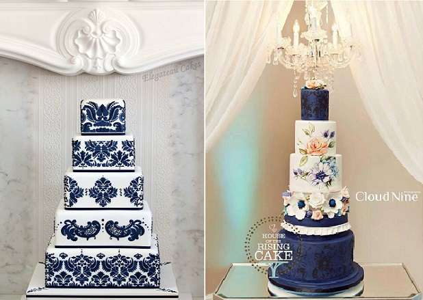 Navy wedding cakes by Elegateau left and House of the Rising Cake (Cloud 9 Photo) right
