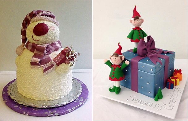 Snowman Cake by Gina's Cakes via Deviant Art left, elf cake by Handi's Cakes right