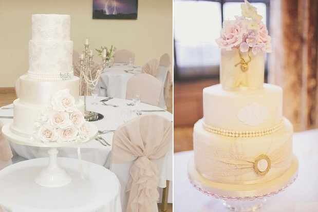 Vintage Jewellery Wedding Cakes by Edible Essence Cake Art left, Baby Cake right image by Sarah Jane Ethan