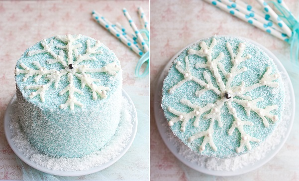 blue snowflake cake tutorial from Cake Journal