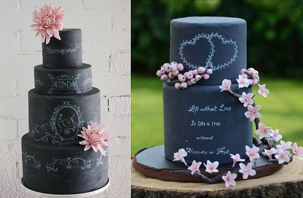 chalkboard wedding cakes by the Little Malvern Cake Co., Australia left, Pure Cakes by Mila right