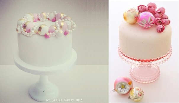 christmas bauble cakes pink by The Artful Bakery, Ireland left, via Pinterest right
