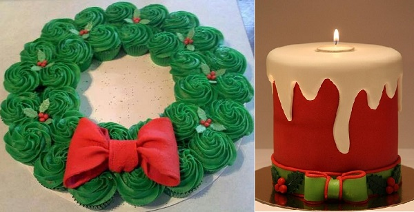 christmas cupcakes wreath left and christmas candle cake by Lilo Tart right