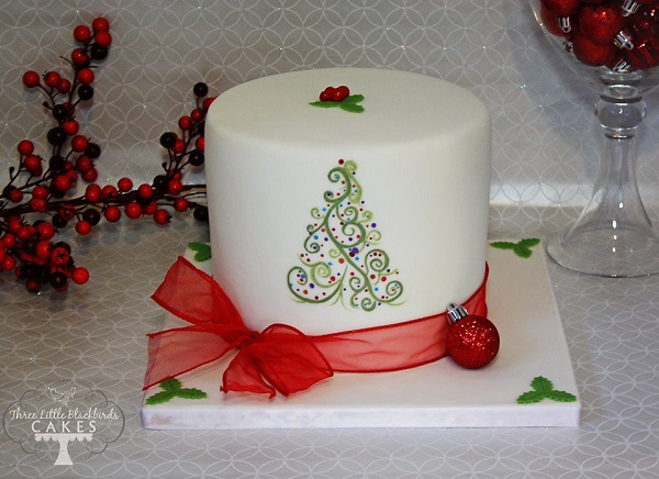 classic christmas cake decoration by the Three Little Blackbirds Cakes