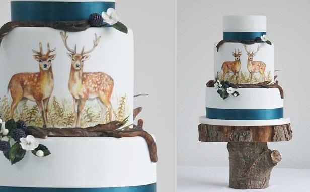 deer wedding cake handpainted autumn cake by Cakes by Krishanthi