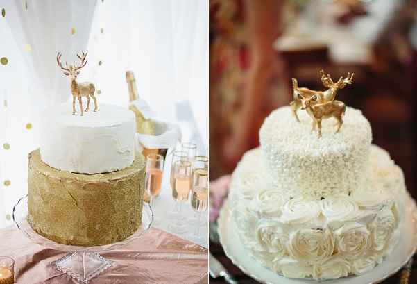 deer wedding cakes via 100LayerCake left, via Pinterest right