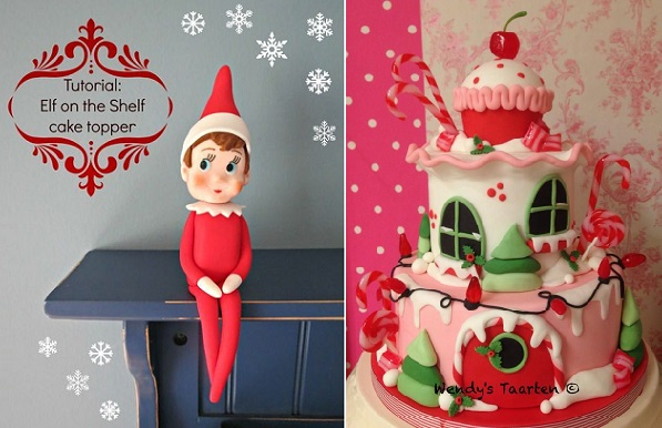 elf on the shelf cake topper tutorial left, novelty christmas cake by Wendy's Taarten right