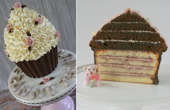 giant cupcake in chocolate by the Dulcie Blue Bakery left, layered giant cupcake by Cakes Spa UK