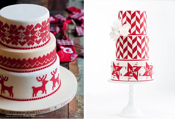 knit effect cake by Evelien Kijer via Mjaam Taart left, AK Designs right