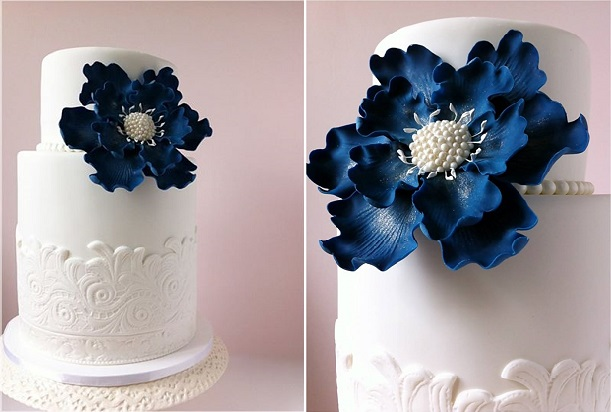 navy wedding cake accents on white cake by Dream Cakes by Robyn