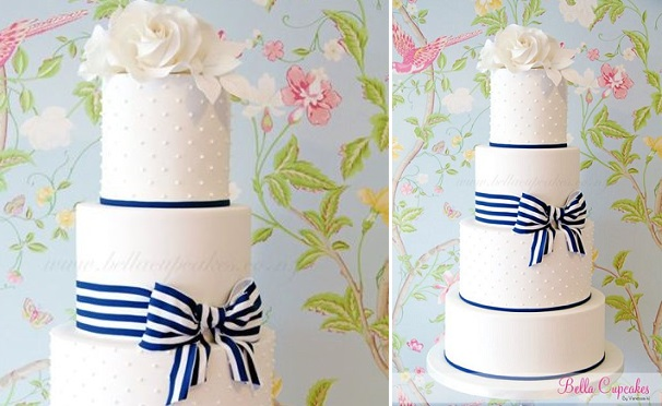 navy wedding cake by Bella Cupcakes