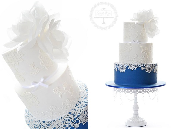 navy wedding cake with lace by Sweet Love Cake Couture