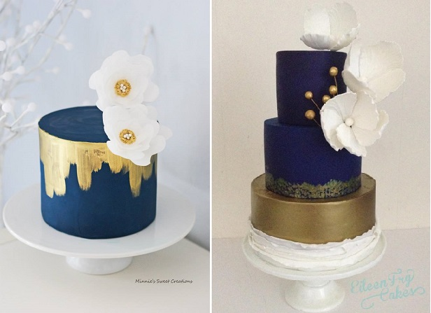 navy wedding cakes by Minnie's Sweet Creations left and Eileen Fry Cakes right