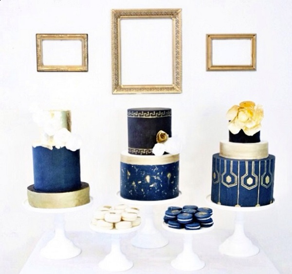 navy wedding cakes with gold accents by The French Confection Company, Candace Boysen Photo.