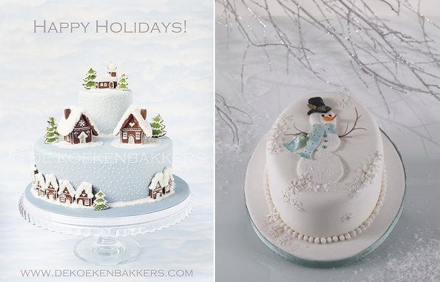 pastel christmas cakes by De Koekenbakkers left, Alan Dunn Sugarcraft right