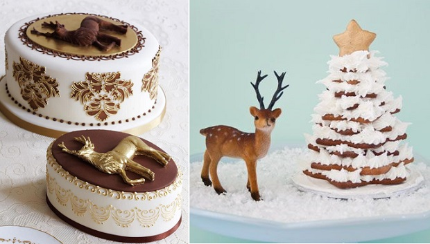 reindeer christmas cakes by Peggy Porschen, Georgia Glynn Smith Photography left, Cake Journal right