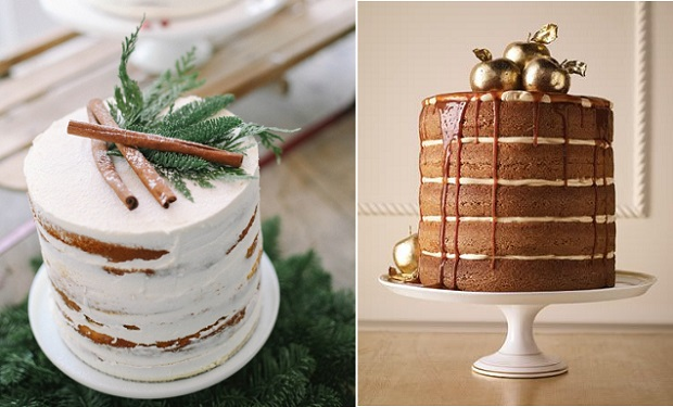 rustic christmas cakes via South Bound Bride left, The Perfect Palette right, Spiced apple layer cake caramel ganache