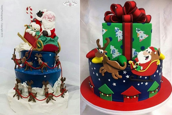 santa and reindeer cakes by Lullaby Cakes, Helly Photography left, and via Pinterest right